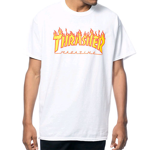 THRASHER FLAME T-SHIRT (WHITE)