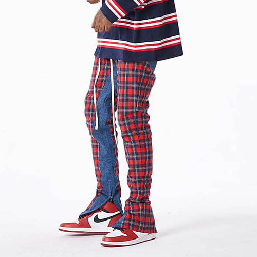 FNTY Plaid denim pants RED
