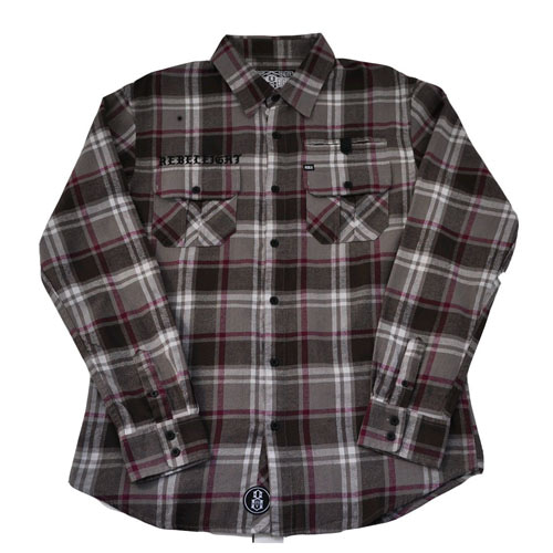 REBEL8 CHAPTER FLANNEL SHIRT GREY