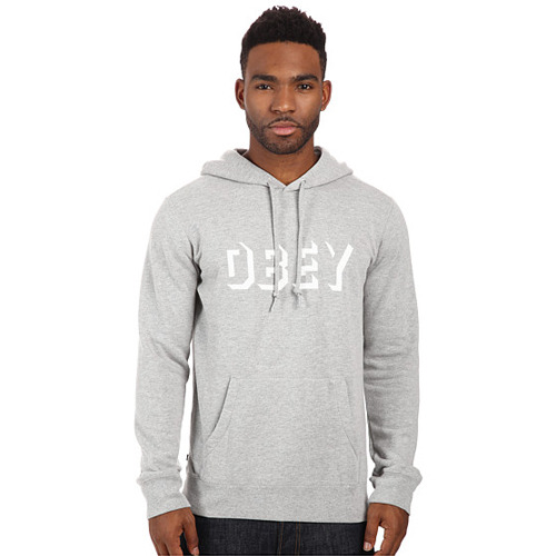 OBEY DROPOUT PULLOVER HOOD HEATHER GREY