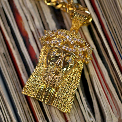Design By TSS XL GOLD JESUS (STONES ON REEF) NECKLACE