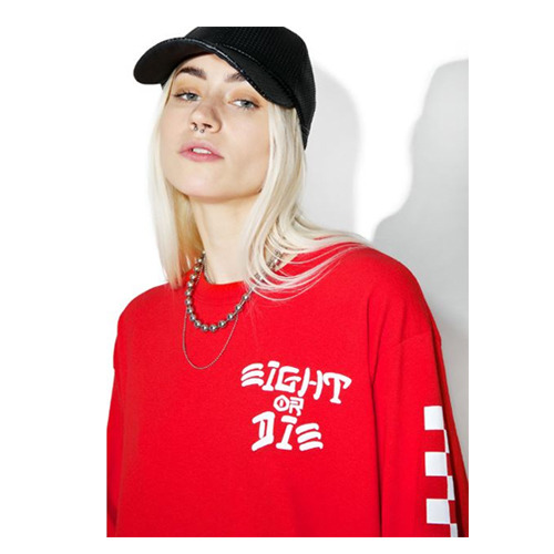 REBEL8 EIGHT OR DIE LONGSLEEVE TEE (RED)