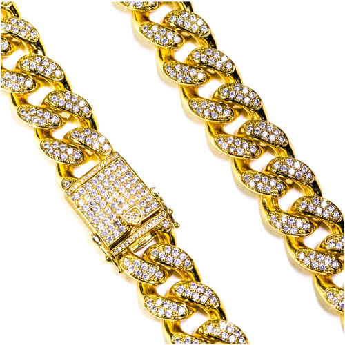 Design By TSS STUDDED CUBAN LINK NECKLACE (GOLD)