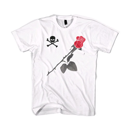 BLACKSCALE Skull & Rose T-Shirt White