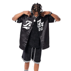 FNTY Satin Baseball Jersey Black