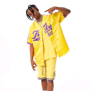 FNTY Satin Baseball Jersey Yellow