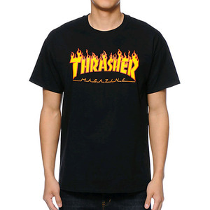 THRASHER FLAME T-SHIRT (BLACK)
