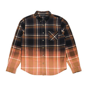 BLACKSCALE DIP DYE FLANNEL BUTTON DOWN BROWN
