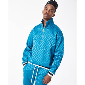 FNTY Satin checkboard half-zip up BLUE