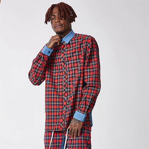 FNTY Plaid denim button up shirts RED