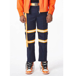 FNTY Reflection ribbon chino pants NAVY/ORANGE