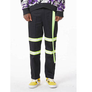 FNTY Reflection ribbon chino pants BLACK/GREEN