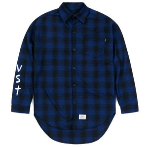 STIGMA [무료배송]VST OVERSIZED WOOL CHECK SHIRTS BLUE