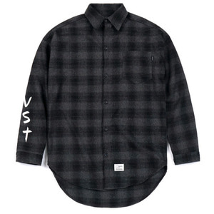 STIGMA [무료배송]VST OVERSIZED WOOL CHECK SHIRTS DARK GREY