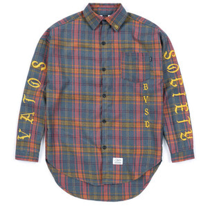 STIGMA [무료배송]BLACK PANTHER OVERSIZED WOOL CHECK SHIRTS BLUE