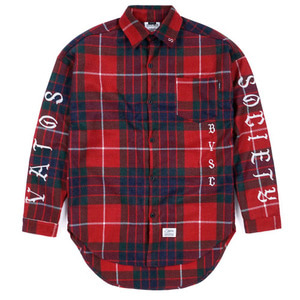 STIGMA [무료배송]BLACK PANTHER OVERSIZED WOOL CHECK SHIRTS RED