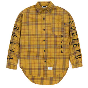 STIGMA [무료배송]BLACK PANTHER OVERSIZED WOOL CHECK SHIRTS MUSTARD