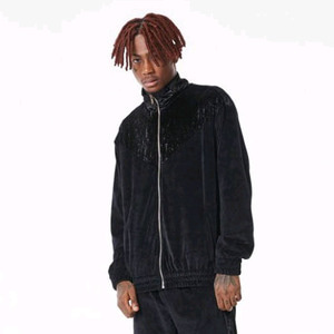 FNTY Velvet Block V Jacket Black