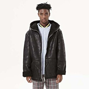 FNTY Oversized leather jacket Black
