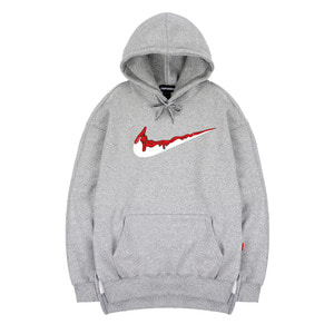 TRIPSHION RED BENDING TOOTHPASTE HOODIE - GRAY