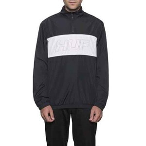 HUF STADIUM HALF ZIP TRACK JACKET BLACK