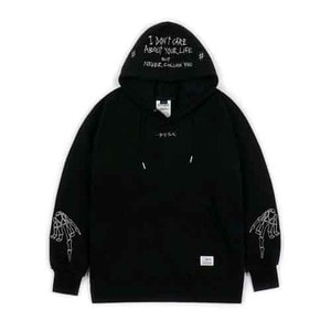 STIGMA BONES BRUSHED HEAVY SWEAT HOODIE BLACK