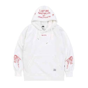 STIGMA BONES BRUSHED HEAVY SWEAT HOODIE WHITE