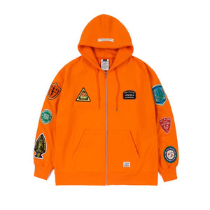 STIGMA FAITH OVERSIZED HEAVY SWEAT ZIPUP HOODIE ORANGE