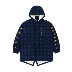 STIGMA WORLD OVERSIZED WOOL CHECK VELBOA COAT BLUE