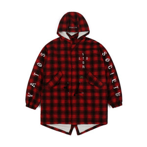 STIGMA WORLD OVERSIZED WOOL CHECK VELBOA COAT RED