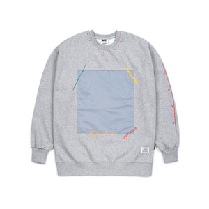 STIGMA SQUARE HEAVY SWEAT OVERSIZED CREWNECK GREY