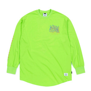 STIGMA PRISM LAYERD LONG SLEEVES T-SHIRTS NEON GREEN