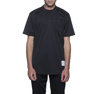 HUF CLASSIC H HENLEY JERSEY BLACK