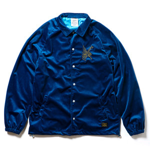 STIGMA CROW VELVET OVERSIZED COACH JACKET BLUE