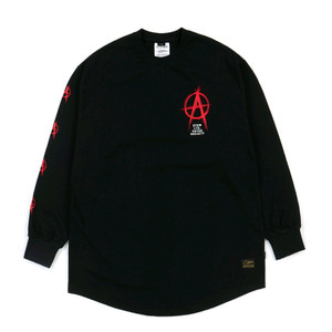 STIGMA ANARCHY LAYERED LONG SLEEVES T-SHIRTS BLACK