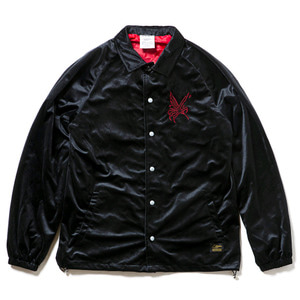 STIGMA CROW VELVET OVERSIZED COACH JACKET BLACK