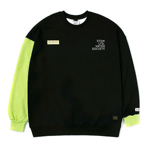 STIGMA BARCODE OVERSIZED HEAVY SWEAT CREWNECK NEON GREEN