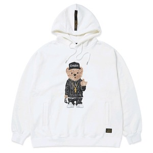 STIGMA EMB COMPTON BEAR OVERSIZED HEAVY SWEAT HOODIE WHITE