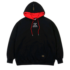 STIGMA DOUBLE OVERSIZED HEAVY SWEAT HOODIE BLACK