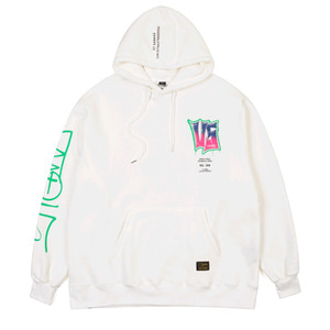 STIGMA GRAFFITI OVERSIZED HEAVY SWEAT HOODIE WHITE