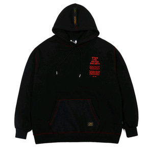 STIGMA STITCH OVERSIZED HEAVY SWEAT HOODIE BLACK