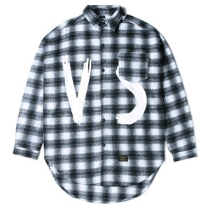 STIGMA VSC OVERSIZED WOOL CHECK SHIRTS WHITE