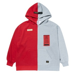 STIGMA SPLIT OVERSIZED HEAVY SWEAT ZIPUP HOODIE RED