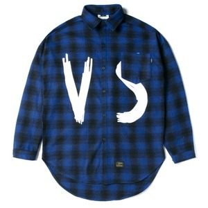 STIGMA VSC OVERSIZED WOOL CHECK SHIRTS BLUE