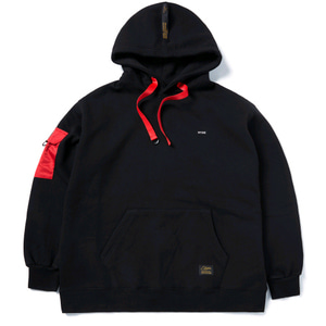 STIGMA STGM POCKET OVERSIZED HEAVY SWEAT HOODIE BLACK