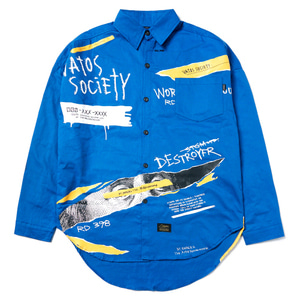 STIGMA COLLAGE OVERSIZED SHIRTS BLUE