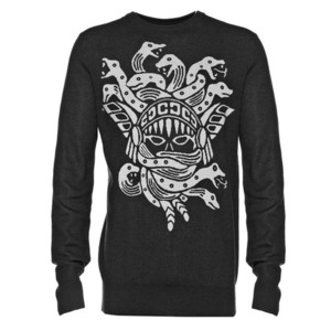 CROOKS & CASTLES Mens Knit Crew Sweater - Olmec Medusa [1]