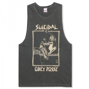 OBEY POOL SKATER TANK DUSTY BLACK