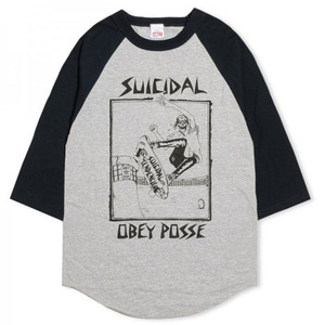 OBEY POOL SKATER BASEBALL TEE HEATHER GREY / NAVY