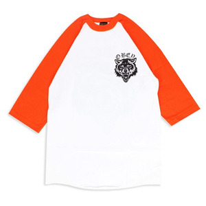 OBEY WOLF POSSE RAGLAN WHITE / ORANGE